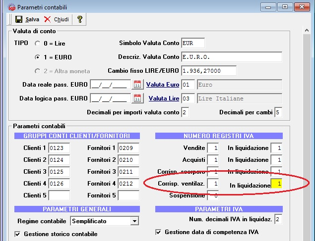la ventilazione dei corrispettivi - parametri contabili
