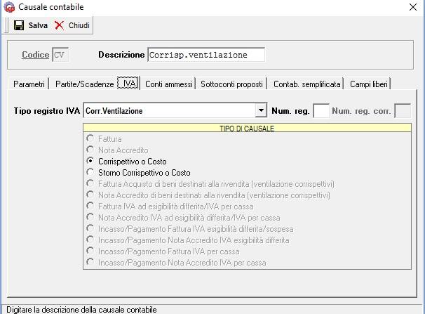 la ventilazione dei corrispettivi - causale contabile CV