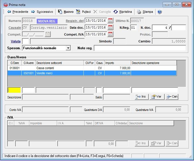 la ventilazione dei corrispettivi - registrazione corrispettivi