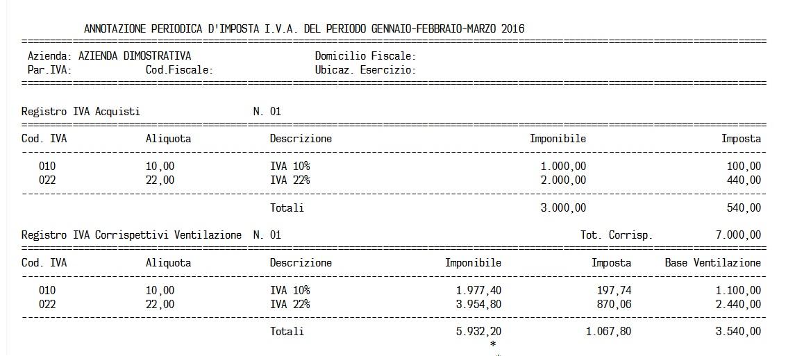 ventilazione dei corrispettivi - riepilogo registri iva