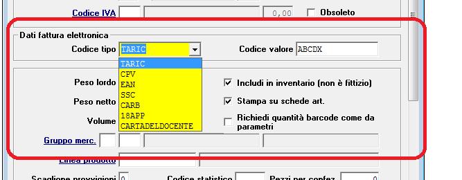 fattura elettronica - aggiunta codice tipo e codice valore in anagrafica articoli