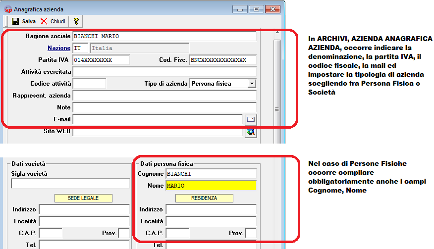 fattura elettronica - anagrafica azienda 2
