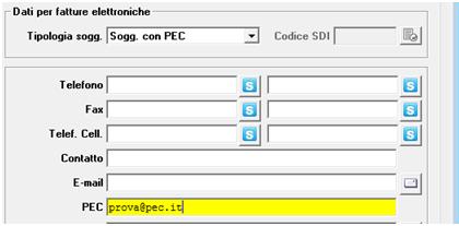 fattura elettronica - anagrafica clienti con pec