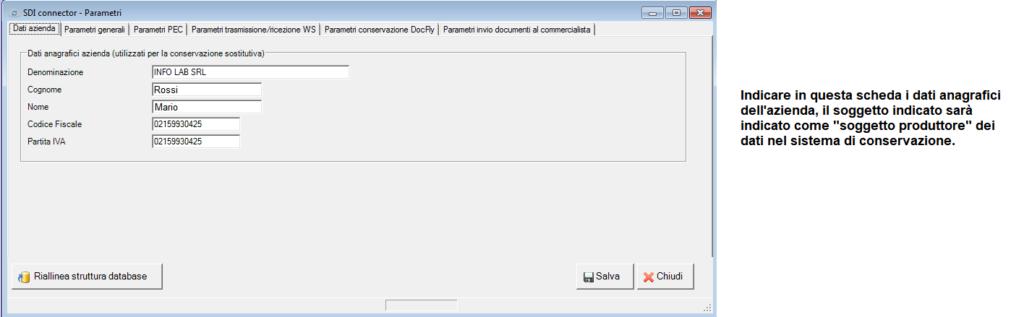 fattura elettronica - parametri - scheda dati azienda