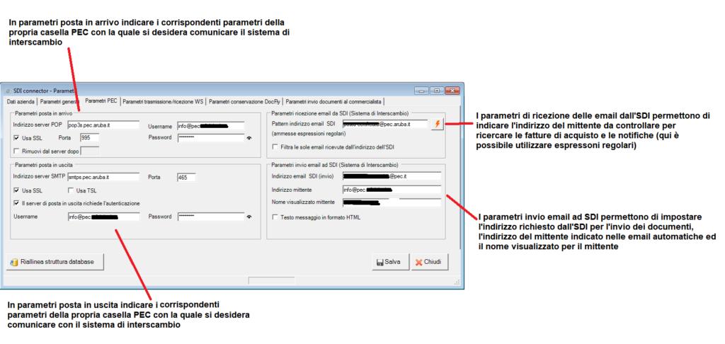 fattura elettronica - parametri - scheda parametri PEC