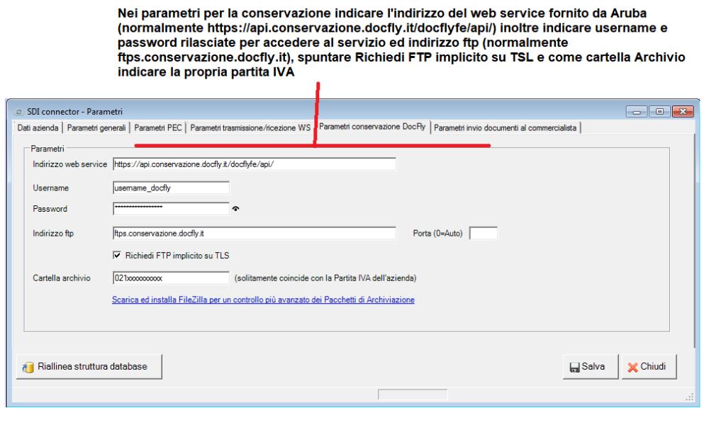 fattura elettronica - parametri - scheda parametri conservazione sostitutiva docfly